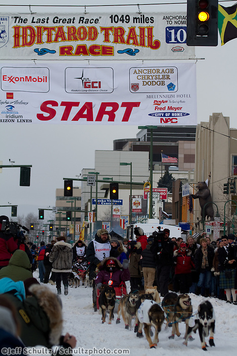 2010 Iditarod Ceremonial Start in Anchorage Alaska musher # 3 CIM SMYTH with Iditarider NANCY GRITMAN