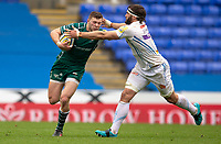 London Irish's Theo Brophy Clews is tackled by Exeter Chiefs' Don Armand<br /> <br /> Photographer Bob Bradford/CameraSport<br /> <br /> Aviva Premiership Round 20 - London Irish v Exeter Chiefs - Sunday 15th April 2018 - Madejski Stadium - Reading<br /> <br /> World Copyright &copy; 2018 CameraSport. All rights reserved. 43 Linden Ave. Countesthorpe. Leicester. England. LE8 5PG - Tel: +44 (0) 116 277 4147 - admin@camerasport.com - www.camerasport.com