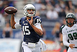 Nevada quarterback Tyler Stewart (15) passes against Hawaii during the first half of an NCAA college football game in Reno, Nev., on Saturday, Oct. 24, 2015. (AP Photo/Cathleen Allison)