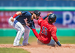 31 May 2018: New Hampshire Fisher Cats infielder Bo Bichette gets Portland Sea Dogs shortstop Deiner Lopez out while attempting to steal second to end the top of the 3rd inning at Northeast Delta Dental Stadium in Manchester, NH. The Sea Dogs defeated the Fisher Cats 12-9 in extra innings. Mandatory Credit: Ed Wolfstein Photo *** RAW (NEF) Image File Available ***