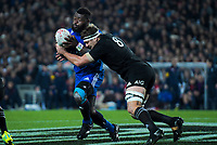 France's Dany Priso is tackled by NZ's Luke Whitelock during the Steinlager Series international rugby match between the New Zealand All Blacks and France at Eden Park in Auckland, New Zealand on Saturday, 9 June 2018. Photo: Dave Lintott / lintottphoto.co.nz