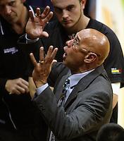 Taranaki coach Angelo Hill talks to his team during the National basketball league match between the Wellington Saints  and Taranaki Mountainairs at TSB Bank Arena, Wellington, New Zealand on Friday, 9 April 2010. Photo: Dave Lintott / lintottphoto.co.nz