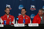 15 December 2007: Ohio State's Doug Verhoff, Eric Edwards, and head coach John Bluem. The Ohio State Buckeyes held a press conference at SAS Stadium in Cary, North Carolina one day before playing in the NCAA Division I Mens College Cup championship game.