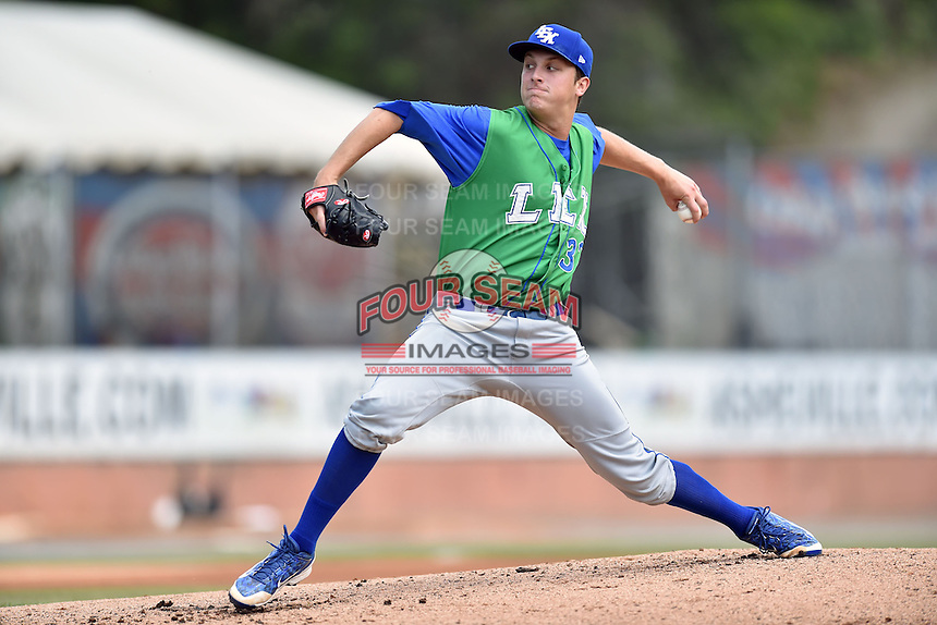 Lexington Legends starting pitcher Matt Tenuta (32) delivers a pitch during a game against the Asheville Tourists on May 3, 2015 in Asheville, North Carolina. The Legends defeated the Tourists 6-3. (Tony Farlow/Four Seam Images)