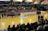 The teams line up before the 2017 AA Boys' Secondary Schools Basketball Premiership National Championship final between Rangitoto College and Rosmini College at the B&M Centre in Palmerston North, New Zealand on Saturday, 7 October 2017. Photo: Dave Lintott / lintottphoto.co.nz