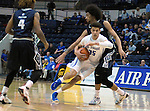 March 1, 2016 - Colorado Springs, Colorado, U.S. -   Air Force forward, Hayden Graham #35, drives for the basket during an NCAA basketball game between the Utah State University Aggies and the Air Force Academy Falcons at Clune Arena, United States Air Force Academy, Colorado Springs, Colorado.  Utah State defeats Air Force 78-65.