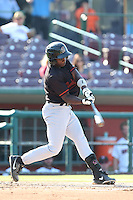 Marquez Smith #7 of the Bakersfield Blaze bats against the Inland Empire 66ers at San Manuel Stadium on August 21, 2014 in San Bernardino, California. Inland Empire defeated Bakersfield, 3-1. (Larry Goren/Four Seam Images)