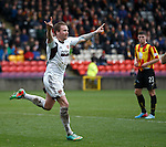 Ryan Stevenson celebrates after heading in the third goal