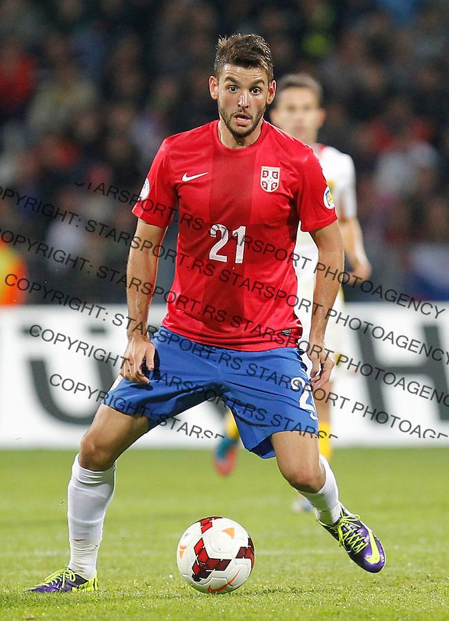 Fudbal Soccer<br /> World Cup 2014 qualifiers match<br /> Serbia v Macedonia<br /> Filip Djordjevic<br /> Jagodina, 15.10.2013.<br /> foto: Srdjan Stevanovic/Starsportphoto &copy;