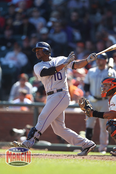 SAN FRANCISCO - SEPTEMBER 20:  Chris Nelson of the Colorado Rockies bats during the game against the San Francisco Giants at AT&T Park on September 20, 2012 in San Francisco, California. (Photo by Brad Mangin)