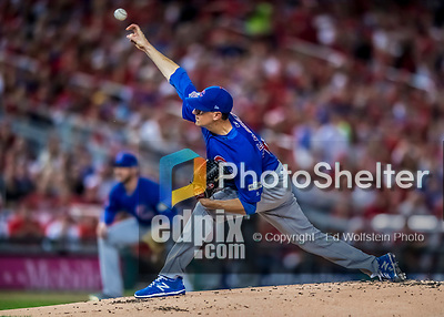 6 October 2017: Chicago Cubs starting pitcher Kyle Hendricks on the mound during the first game of the NLDS against the Washington Nationals at Nationals Park in Washington, DC. The Cubs shut out the Nationals 3-0 to take a 1-0 lead in their best of five Postseason series. Mandatory Credit: Ed Wolfstein Photo *** RAW (NEF) Image File Available ***