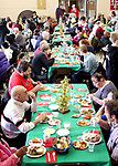 WATERBURY CT. 25 December 2018-122518SV03-Volunteers serve over 500 meals during the annual free Joy of Christmas Dinner at the First Congregational Church in Waterbury Tuesday.<br /> Steven Valenti Republican-American