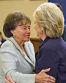 United States Representative Nita Lowey (Democrat of New York) hugs former United States Secretary of State Hillary Rodham Clinton, a candidate for the 2016 Democratic Party nomination for President of the United States, during  break in the testimony before the US House Select Committee on Benghazi on Capitol Hill in Washington, DC on Thursday, October 22, 2015.<br /> Credit: Ron Sachs / CNP<br /> (RESTRICTION: NO New York or New Jersey Newspapers or newspapers within a 75 mile radius of New York City)