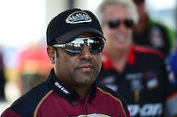 Sept. 22, 2012; Ennis, TX, USA: NHRA top fuel dragster driver Khalid Albalooshi during qualifying for the Fall Nationals at the Texas Motorplex. Mandatory Credit: Mark J. Rebilas-