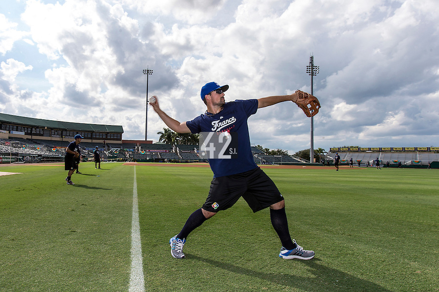 18 September 2012: France Florian Peryichou warms up during Team France practice, at the 2012 World Baseball Classic Qualifier round, in Jupiter, Florida, USA.
