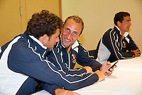 Austria, Kitzbuhel, Juli 16, 2015, Tennis, Davis Cup, Draw, Robin Haase (L) Thiemo de Bakker and Jese Huta Galung (R)<br /> Photo: Tennisimages/Henk Koster