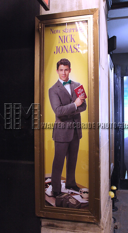 Theatre Marquee for  the Curtain Call for 'How To Succeed in Business...' as Nick Jonas & Michael Urie join Beau Bridges at the Al Hirshfeld Theatre in New York City on 1/24/2012