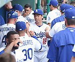 Kenta Maeda (Dodgers),<br /> MARCH 5, 2016 - MLB :<br /> Kenta Maeda of the Los Angeles Dodgers is greeted by teammates and manager Dave Roberts in the dugout after the top of the second inning during a spring training baseball game against the Arizona Diamondbacks at Camelback Ranch-Glendale in Phoenix, Arizona, United States. (Photo by AFLO)