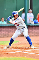 Kingsport Mets catcher Francisco Alvarez (4) at bat during a game against the Elizabethton Twins at Joe O'Brien Field on July 6, 2019 in Elizabethton, Tennessee. The Twins defeated the Mets 5-3. (Tony Farlow/Four Seam Images)