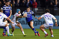 Darren Atkins of Bath Rugby goes on the attack. Gallagher Premiership match, between Bath Rugby and Exeter Chiefs on October 5, 2018 at the Recreation Ground in Bath, England. Photo by: Patrick Khachfe / Onside Images