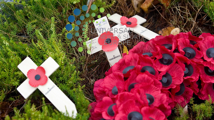 Wreaths at the at the foot of the memorial stone during the Erskine Home Remembrance day. The home was founded in 1916. Erskine has provided nursing and medical care for former members of our Armed Forces through two world wars and the more recent conflicts and peace keeping initiatives of the twentieth and twenty first centuries. .Picture:Universal News And Sport (Scotland) 11.November 2010...