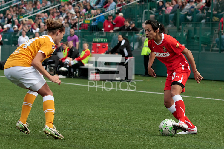 Marta of the Western New York Flash controls the ball vs Katherine Reynolds of the Atlanta Beat  during the first half of their WPS match at Sahlen's Stadium in Rochester, NY May 01, 2011. New York 3, Atlanta 0.