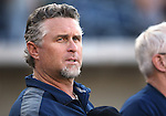 Reno Aces' Manager Phil Nevin listens to the National Anthem before a game at Greater Nevada Field in Reno, Nev., on Tuesday, July 26, 2016.  <br />Photo by Cathleen Allison