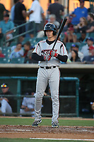 Taylor Kohlwey (24) of the Lake Elsinore Storm bats against the Lancaster JetHawks at The Hanger on June 14, 2017 in Lancaster, California. Lancaster defeated Lake Elsinore, 4-0. (Larry Goren/Four Seam Images)