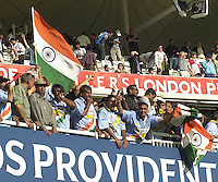 .13/07/2002.Sport - Cricket -NatWest Series Final- Lords.England vs India.The Indian team and their fans celebrate victory in the final against England, requiring 326 to win after, England batted first a scored 325 for 5