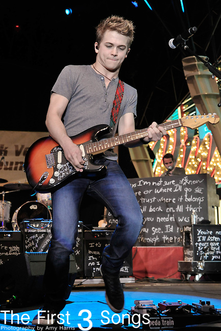 Hunter Hayes performs during the ACM Concerts at Fremont Street Experience Event in Las Vegas, Nevada on March 30, 2012.