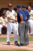 Boston College Eagles Head Coach Mik Aoki meets the umpires prior to BC's game vs. NC Tar Heels at Shea Field March 28, 2009 in Chestnut Hill, MA (Photo by Ken Babbitt/Four Seam Images)