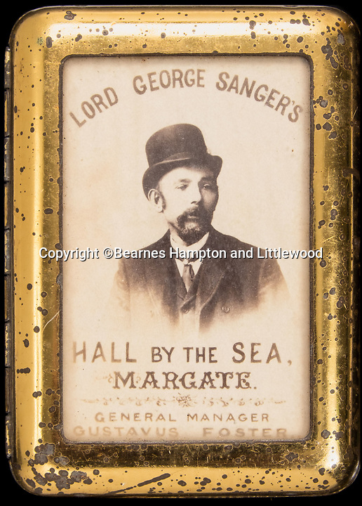 BNPS.co.uk (01202 558833)<br /> Pic: BearnesHampton&Littlewood/BNPS<br /> <br /> Self promotion on a cigarette tin.<br /> <br /> A fascinating archive of photographs and documents relating to Britain's 'Greatest Showman' has emerged for sale.<br /> <br /> Lord George Sanger established one of the very first circus shows in Victorian times and was the British equivalent of P.T Barnum, the subject of the hit musical movie The Greatest Showman.<br /> <br /> Now an archive that includes black and white photos of crowds of people gathered outside a huge circus tent in Margate as well one of five elephants lined up outside the same venue is available for sale at auction in Devon.