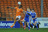 Blackpool's Armand Gnanduillet under pressure from Gillingham's Stuart O'Keefe<br /> <br /> Photographer Kevin Barnes/CameraSport<br /> <br /> The EFL Sky Bet League One - Blackpool v Gillingham - Tuesday 11th February 2020 - Bloomfield Road - Blackpool<br /> <br /> World Copyright © 2020 CameraSport. All rights reserved. 43 Linden Ave. Countesthorpe. Leicester. England. LE8 5PG - Tel: +44 (0) 116 277 4147 - admin@camerasport.com - www.camerasport.com