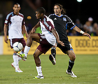 Santa Clara, California - Saturday August 25th, 2012: Colorado Rapids' Joseph Nane tries to control the ball away from San Jose Earthquakes' Alan Gordon during a game at Buck Shaw Stadium, Stanford, Ca    San Jose Earthquakes defeated Colorado Rapids 4 - 1