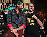 Boxers Tyson Fury (flowered shirt) and Otto Wallin joke around as they pose during a news conference at MGM Grand Hotel & Casino on September 11, 2019 in Las Vegas, Nevada. The two will meet in a heavyweight bout on September 14 at T-Mobile Arena