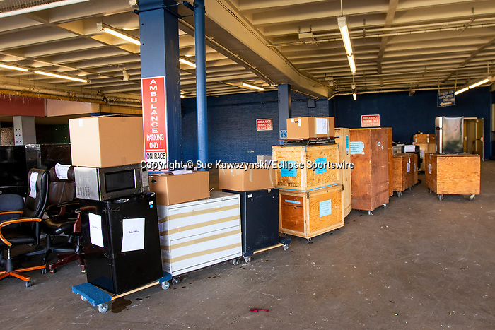APRIL 01, 2020: COVID 19 - NYRA moving out their property to make room for temporary hospital to be set up at Aqueduct Racecourse in Ozone Park, NY.  Sue Kawczynski/Eclipse Sportswire/CSM