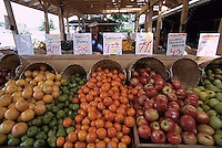 Fresh Fruits and other Produce for Sale at a Farmer's Market in Duncan, Vancouver Island, British Columbia, Canada