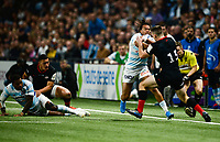 17th November 2019,  Paris La Défense Arena, Hauts-de-Seine, France; Champions Cup Rugby Union, Racing 92 versus Saracens;  TEDDY THOMAS (Racing ) challenges for the loose ball with M Gallagher (Saracens ) as Virimi Vakatawa ( Racing ) shows interest