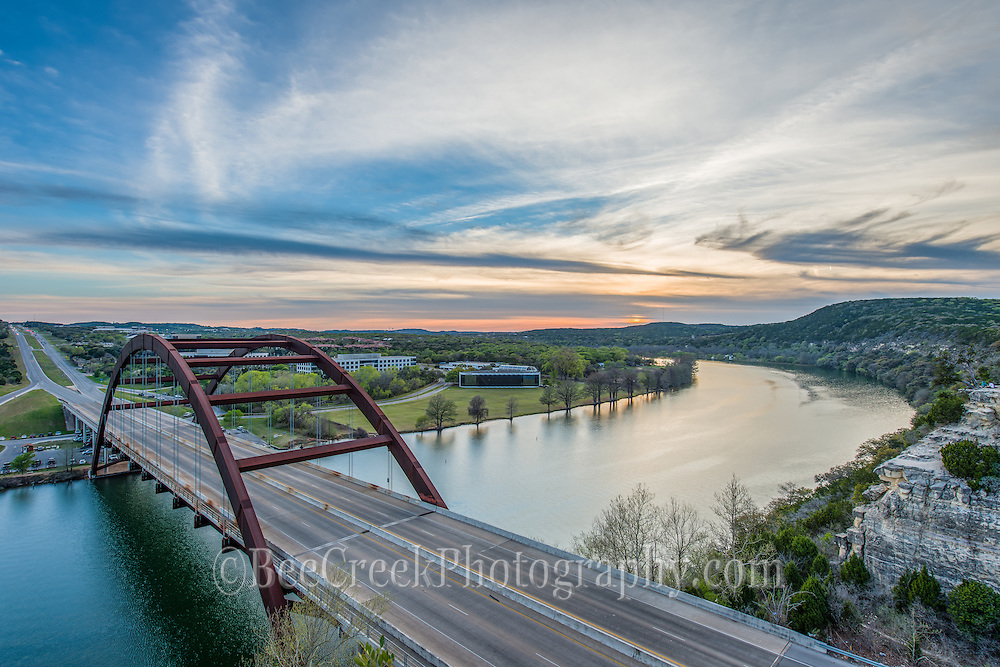 We took this photo of the Austin Pennybacker Bridge or the 360 bridge as some call it as the sun was setting over lake austin and the cloud picked up some nice colors.  I have been here many times when the clouds would blow off right before the sunset but today they stuck around for the perfect sunset.