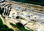 Aerial photograph of a Rock Quarry cut out of the earth somewhere in upstate new york