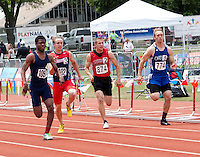Carthage junior Cameron Priester (774), and Jackson's Brannon Wright and Truman's Roy Bay, all chase SLUH's Raymond Wingo in the Class 4 Boys 100 meter finals at the Missouri High School Class 3-4 State Track and Field Championships, Saturday, May 25, in Jefferson City. Running into the wind, Wingo ran away with the title in 10.85 while Bay was second in 11.04, Wright was 6th in 11.25 and Priester was 8th in 11.32.