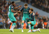 Tottenham Hotspur's Victor Wanyama (left), Ben Davies and Dele Alli celebrate at the final whistle<br /> <br /> Photographer Rich Linley/CameraSport<br /> <br /> UEFA Champions League - Quarter-finals 2nd Leg - Manchester City v Tottenham Hotspur - Wednesday April 17th 2019 - The Etihad - Manchester<br />  <br /> World Copyright © 2018 CameraSport. All rights reserved. 43 Linden Ave. Countesthorpe. Leicester. England. LE8 5PG - Tel: +44 (0) 116 277 4147 - admin@camerasport.com - www.camerasport.com