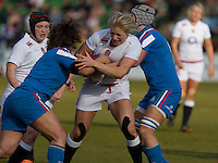 Alex Matthews tackled, England Women v Italy Women in Women's 6 Nations Match at Twickenham Stoop, Twickenham, England, on 15th February 2015. Final score 39-7.