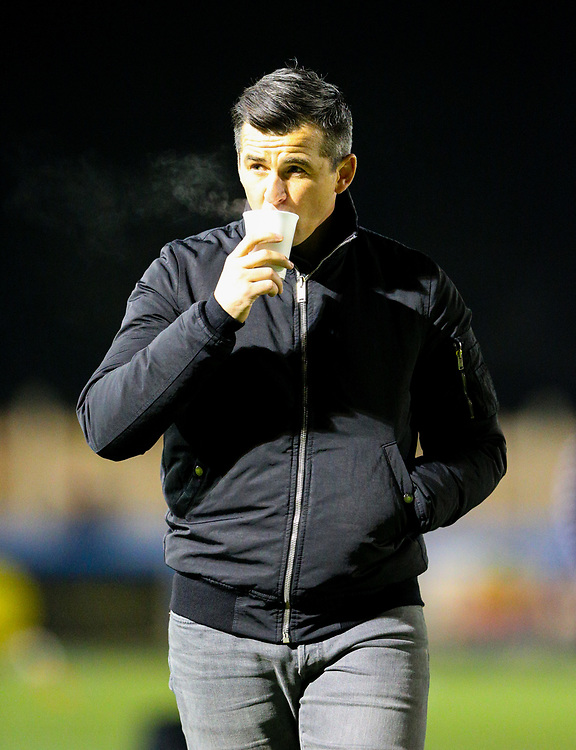 Fleetwood Town manager Joey Barton oversees the warm up<br /> <br /> Photographer Alex Dodd/CameraSport<br /> <br /> The Emirates FA Cup Second Round - Guiseley v Fleetwood Town - Monday 3rd December 2018 - Nethermoor Park - Guiseley<br />  <br /> World Copyright &copy; 2018 CameraSport. All rights reserved. 43 Linden Ave. Countesthorpe. Leicester. England. LE8 5PG - Tel: +44 (0) 116 277 4147 - admin@camerasport.com - www.camerasport.com