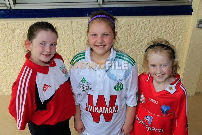 Katelyn Harmon Browne<br /> Alexia bujoreanu<br /> Ash long Thornton<br /> GOAL Jersey Day in Marymount National School.<br /> Picture Fran Caffrey www.golffile.ie