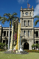The statue of King Kamehameha the Great is draped with leis for Kamehameha Day each year on June 11th. The statue stands in front of Aliiolani Hale, also known as the Judiciary building, near Iolani Plalce in downtown Honolulu. Judiciary Building