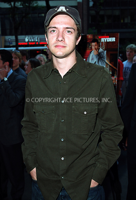 """Topher Grace from """"That 70's Show"""" arrives at the world premiere of Mr. Deeds in New York. June 18, 2002. Please byline: Alecsey Boldeskul/NY Photo Press.   ..*PAY-PER-USE*      ....NY Photo Press:  ..phone (646) 267-6913;   ..e-mail: info@nyphotopress.com"""