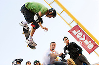 Tony Hawk skating halfpipe at the ICER ski and snowboard big air competition at AT&T Park in San Francisco.<br />