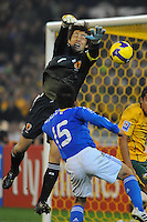 MELBOURNE, 17 JUNE 2009 - Seigo NARAZAKI of Japan deflects the ball in an Asia group 1 qualification match for the FIFA 2010 World Cup between Australia and Japan at the MCG, Melbourne, Australia. 17 June 2009. Photo Sydney Low. This photograph is NOT FOR SALE.
