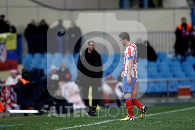 Atletico de Madrid's Gabi threw out during La Liga  match. February 24,2013.(ALTERPHOTOS/Alconada)